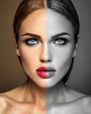 Señora hermosa del modelo de la mujer con maquillaje diario fresco imagen de archivo
