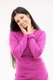 Señora hermosa en alineada rosada con acciones agradables Imagenes de archivo