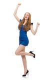 Señora hermosa en el vestido azul marino aislado en Fotos de archivo libres de regalías