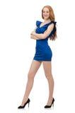 Señora hermosa en el vestido azul marino aislado en Imagen de archivo libre de regalías
