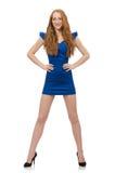 Señora hermosa en el vestido azul marino aislado en Foto de archivo libre de regalías