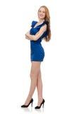 Señora hermosa en el vestido azul marino aislado en Imágenes de archivo libres de regalías