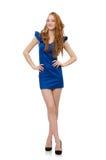 Señora hermosa en el vestido azul marino aislado encendido Imagen de archivo