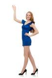 Señora hermosa en el vestido azul marino aislado encendido Fotos de archivo