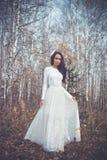 Señora hermosa en un bosque del abedul Foto de archivo libre de regalías