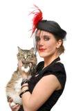 Señora hermosa en un velo con el gato Fotos de archivo
