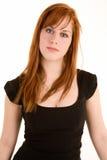 Señora hermosa Isolated del Redhead en blanco imágenes de archivo libres de regalías