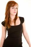 Señora hermosa Isolated del Redhead en blanco Imagen de archivo libre de regalías