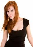 Señora hermosa Isolated del Redhead en blanco fotografía de archivo libre de regalías