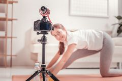 Señora hermosa que hace deporte en casa foto de archivo libre de regalías