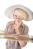 Señora insegura con el mapa Imagen de archivo libre de regalías