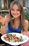 Señora joven, alimento sano Foto de archivo