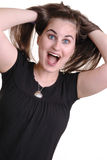 Señora joven bastante emocionada Imagen de archivo