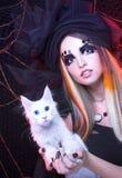 Señora joven con el gato Imágenes de archivo libres de regalías