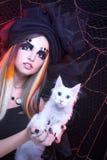 Señora joven con el gato Fotos de archivo libres de regalías