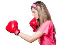 Señora joven con los guantes de boxeo Imágenes de archivo libres de regalías