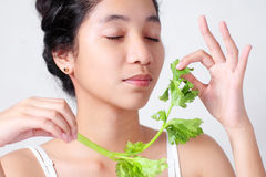 Señora With Fresh Celery Imagen de archivo