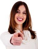 Señora joven que señala en usted Imagen de archivo