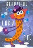 Señora linda Eel de la historieta Fotografía de archivo
