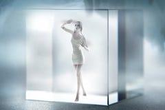Señora linda encarcelada en un cubo de cristal Imagenes de archivo