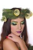Señora Makeup del modelo de moda de la Navidad Imagenes de archivo
