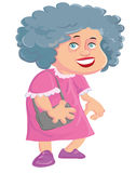 Señora mayor de la historieta con un bolso Foto de archivo