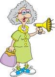 Señora mayor de la historieta con un megáfono libre illustration