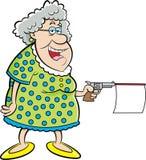 Señora mayor de la historieta que tira un arma con el mensaje ilustración del vector