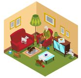 Señora mayor Dogs Isometric Composition libre illustration