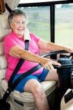 Señora mayor Driver de rv Foto de archivo libre de regalías