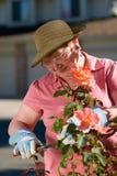 Señora mayor en jardín Imágenes de archivo libres de regalías