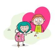 Señora mayor enferma Falling de la historieta en amor en el ejemplo del vector de la edad avanzada stock de ilustración