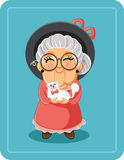 Señora mayor linda con su Cat Pet Vector Illustration Fotografía de archivo libre de regalías