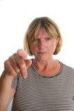 Señora mayor Pointing Imagenes de archivo
