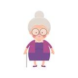 Señora mayor In Purple Dress con el bastón Imagen de archivo
