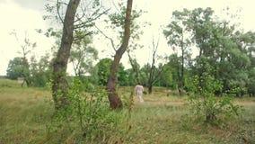 Señora mayor que camina a través del bosque almacen de metraje de vídeo