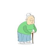Señora mayor With Stick Walking stock de ilustración