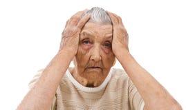 Señora mayor triste Imagenes de archivo