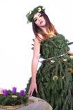 Señora modelo With Advent Wreath 2 de la Navidad Fotografía de archivo libre de regalías
