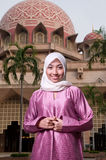 Señora musulmán malaya asiática hermosa y dulce Foto de archivo