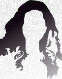 Señora negro-blanca del logotipo, burbujas, pelos negros libre illustration