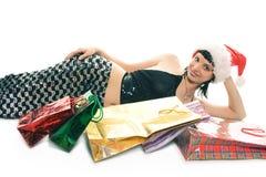 Señora Papá Noel de las compras de la Navidad Fotos de archivo libres de regalías