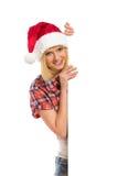 señora Papá Noel que muerde un labio Fotografía de archivo libre de regalías