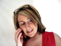 Señora On Phone III del asunto Fotos de archivo