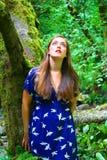 Señora por el árbol Fotos de archivo