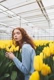 Señora que mira las flores cercanas ausentes Foto de archivo