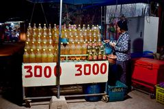 Señora que vende el combustible por el camino foto de archivo libre de regalías