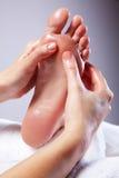 Señora Receiving Foot Massage Imagen de archivo