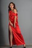 Señora In Red Fotografía de archivo