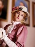 Señora retra en sombrero Imagen de archivo libre de regalías